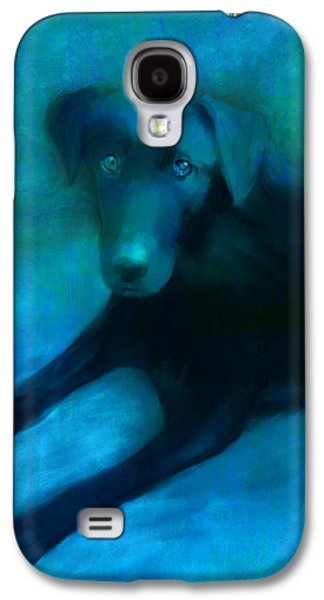 Labrador Retriever Digital Galaxy S4 Cases - Black Lab Galaxy S4 Case by Ann Powell