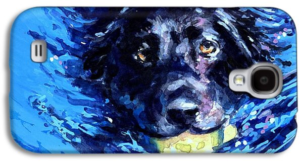Paddle Galaxy S4 Cases - Black Lab  Blue Wake Galaxy S4 Case by Molly Poole