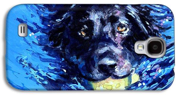 Black Lab  Blue Wake Galaxy S4 Case by Molly Poole