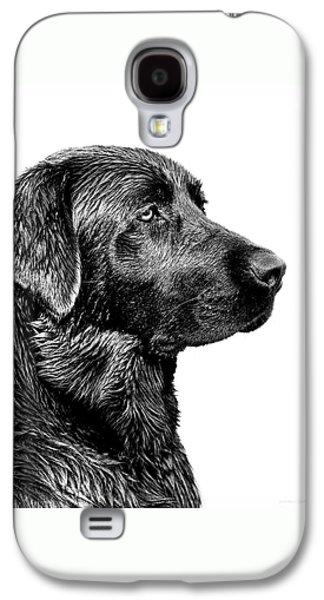 Canine Galaxy S4 Cases - Black Labrador Retriever Dog Monochrome Galaxy S4 Case by Jennie Marie Schell