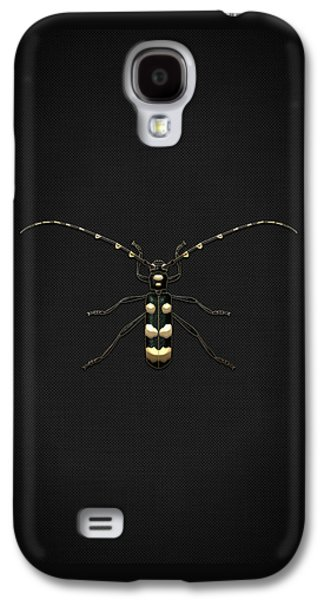Creepy Digital Galaxy S4 Cases - Black Longhorn Beetle with Gold Accents on Black Canvas Galaxy S4 Case by Serge Averbukh