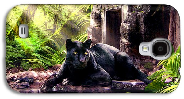 Ancient Paintings Galaxy S4 Cases - Black Panther Custodian of Ancient Temple Ruins  Galaxy S4 Case by Gina Femrite