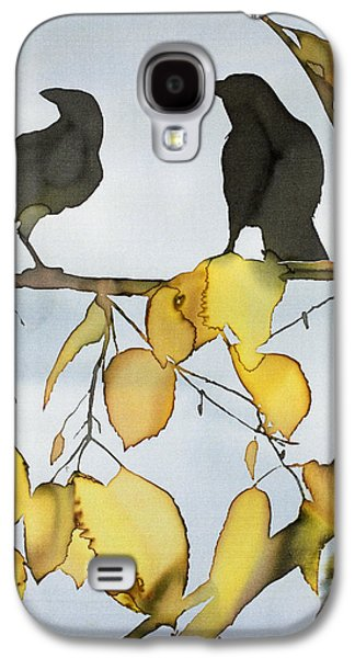 Animals Tapestries - Textiles Galaxy S4 Cases - Black Ravens In Birch Galaxy S4 Case by Carolyn Doe