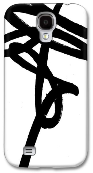 Balck Art Galaxy S4 Cases - Black Ray -Minimal Black and White Abstract by Laura Gomez - Vertical Format Galaxy S4 Case by Laura  Gomez