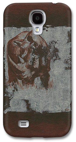 Rhinoceros Paintings Galaxy S4 Cases - Black Rhino Galaxy S4 Case by Konni Jensen