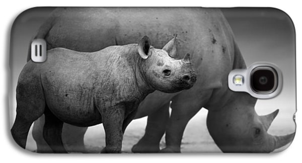 Drink Photographs Galaxy S4 Cases - Black Rhinoceros baby and cow Galaxy S4 Case by Johan Swanepoel