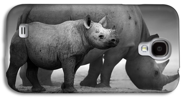 Small Photographs Galaxy S4 Cases - Black Rhinoceros baby and cow Galaxy S4 Case by Johan Swanepoel