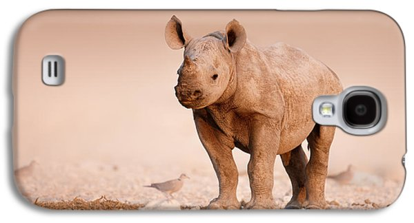 Young Birds Galaxy S4 Cases - Black Rhinoceros baby Galaxy S4 Case by Johan Swanepoel
