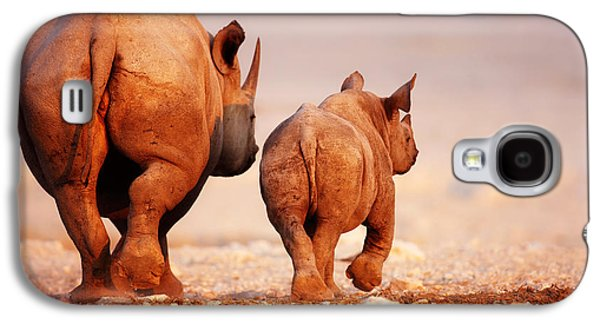 Small Photographs Galaxy S4 Cases - Black Rhinoceros calf and coway Galaxy S4 Case by Johan Swanepoel