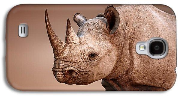 Game Photographs Galaxy S4 Cases - Black Rhinoceros portrait Galaxy S4 Case by Johan Swanepoel