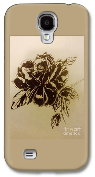 Indian Ink Mixed Media Galaxy S4 Cases - Black rose Galaxy S4 Case by Franky A HICKS