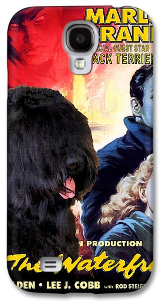 Posters On Paintings Galaxy S4 Cases - Black Russian Terrier Art Canvas Print - On The Waterfront Movie Poster Galaxy S4 Case by Sandra Sij