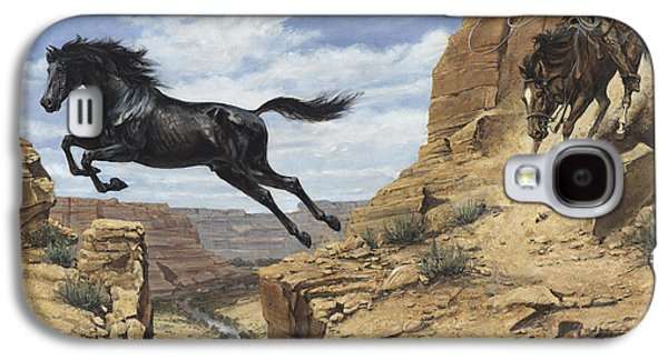 Freedom Paintings Galaxy S4 Cases - Black Stallion Jumping Canyon Galaxy S4 Case by Don  Langeneckert