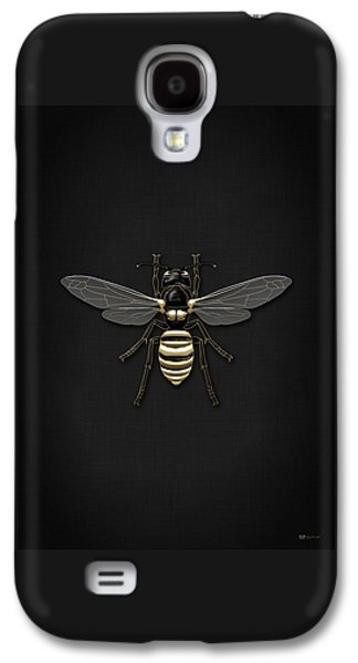 Creepy Digital Galaxy S4 Cases - Black Wasp with Gold Accents on Black Canvas Galaxy S4 Case by Serge Averbukh