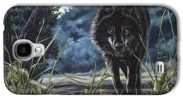 Black Wolf Hunting Galaxy S4 Case by Lucie Bilodeau