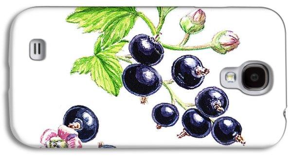Farm Fields Paintings Galaxy S4 Cases - Blackcurrant Botanical Study Galaxy S4 Case by Irina Sztukowski
