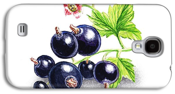 Farm Fields Paintings Galaxy S4 Cases - Blackcurrant Still Life Galaxy S4 Case by Irina Sztukowski