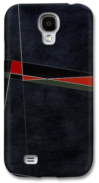 Abstracted Galaxy S4 Cases - Blacknoll Reciprocal Forms With Red And Green Oil & White Ink On Board Galaxy S4 Case by George Dannatt