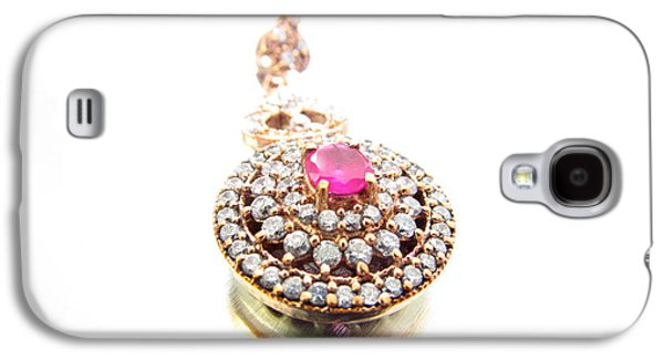 Round Jewelry Galaxy S4 Cases - Blank Card - The Ruby of My Eye Galaxy S4 Case by Diane McElhaney
