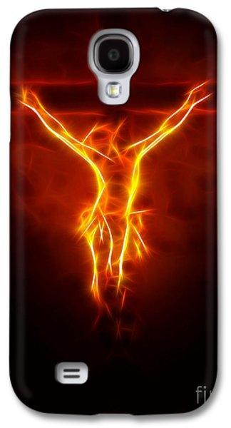 Face Mixed Media Galaxy S4 Cases - Blazing Jesus Crucifixion Galaxy S4 Case by Pamela Johnson