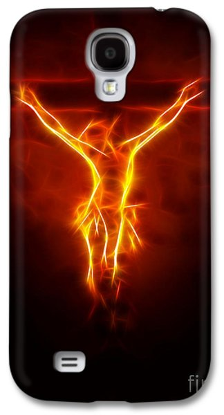 Spirituality Galaxy S4 Cases - Blazing Jesus Crucifixion Galaxy S4 Case by Pamela Johnson