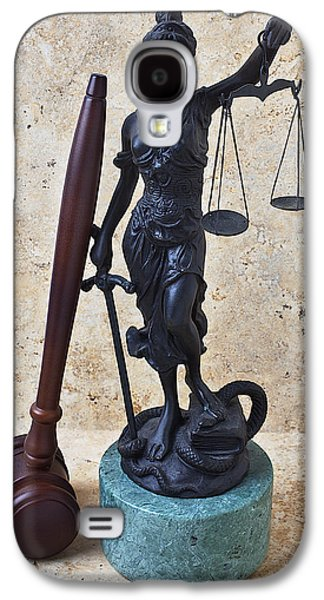 Law Enforcement Galaxy S4 Cases - Blind justice statue with gavel Galaxy S4 Case by Garry Gay