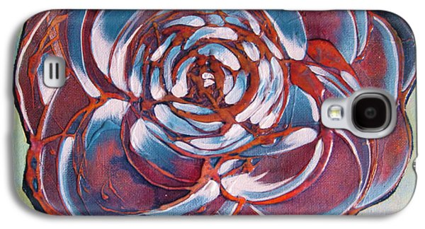 Red Abstract Paintings Galaxy S4 Cases - Bloom II Galaxy S4 Case by Shadia Zayed