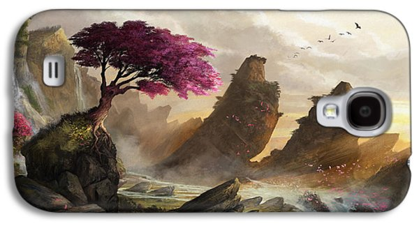 Cherry Blossoms Digital Art Galaxy S4 Cases - Blossom Sunset Galaxy S4 Case by Steve Goad