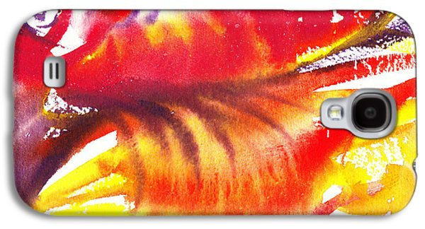 Inspired Paintings Galaxy S4 Cases - Blossoming Flames Abstract  Galaxy S4 Case by Irina Sztukowski