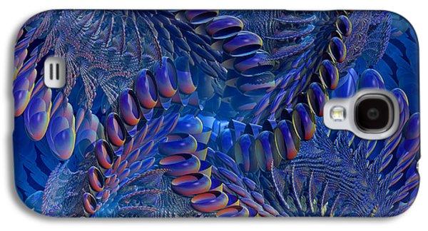 Geometric Digital Art Galaxy S4 Cases - Blue 3 Galaxy S4 Case by Deborah Benoit
