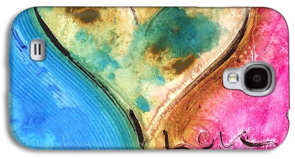 Contemporary Abstract Tapestries - Textiles Galaxy S4 Cases - Blue And Pink Galaxy S4 Case by Ivan Guaderrama