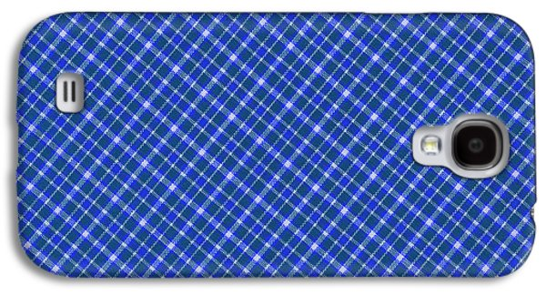Diagonal Galaxy S4 Cases - Blue And White Diagonal Plaid Pattern Cloth Background Galaxy S4 Case by Keith Webber Jr