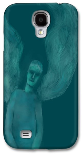 Angel Blues Drawings Galaxy S4 Cases - Blue Angel Galaxy S4 Case by Andreja Hotko Pavic