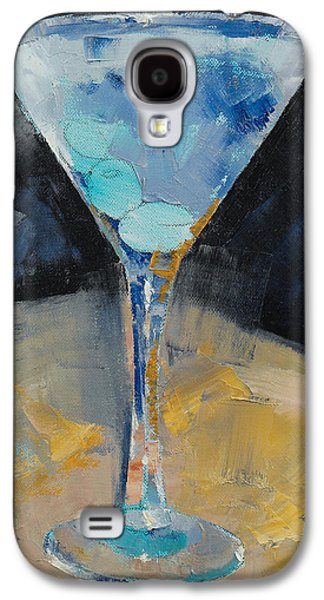 Cosmos Paintings Galaxy S4 Cases - Blue Art Martini Galaxy S4 Case by Michael Creese
