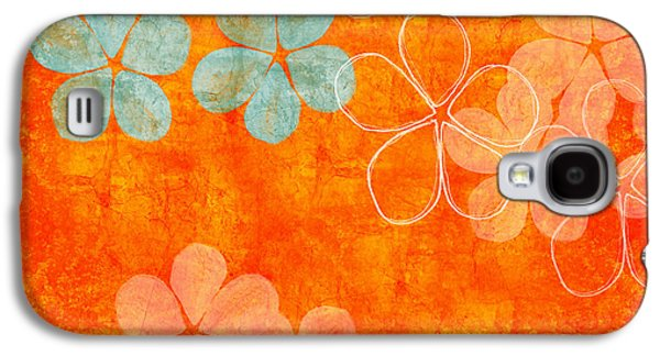 Nature Abstracts Mixed Media Galaxy S4 Cases - Blue Blossom on Orange Galaxy S4 Case by Linda Woods