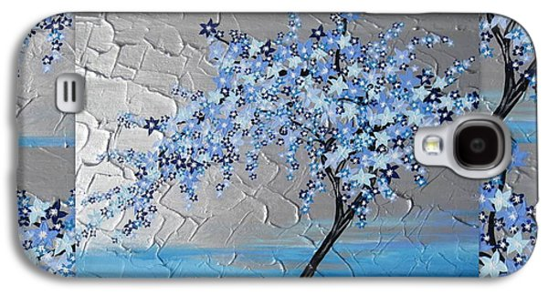Cherry Blossoms Mixed Media Galaxy S4 Cases - Blue blossom tree Galaxy S4 Case by Cathy Jacobs