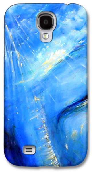 Chakra Paintings Galaxy S4 Cases - Blue Buddha Sky Galaxy S4 Case by Heather Calderon