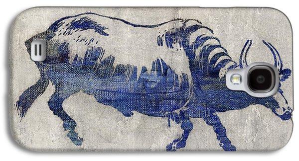 Bulls Digital Art Galaxy S4 Cases - Blue bull Galaxy S4 Case by Aged Pixel