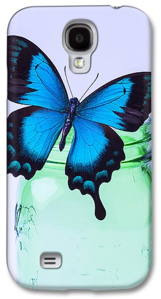 Concept Photographs Galaxy S4 Cases - Blue Butterfly On Green Jar Galaxy S4 Case by Garry Gay