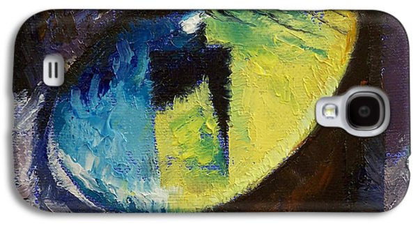 Surrealistic Paintings Galaxy S4 Cases - Blue Cat Eye Galaxy S4 Case by Michael Creese