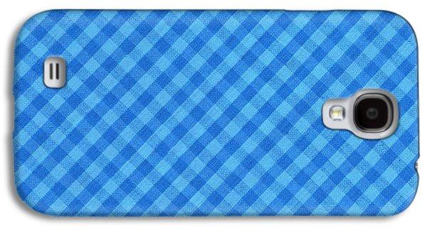 Diagonal Galaxy S4 Cases - Blue Checkered diagonal Tablecloth Cloth Background Galaxy S4 Case by Keith Webber Jr