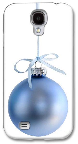 Festivities Galaxy S4 Cases - Blue Christmas bauble Galaxy S4 Case by Elena Elisseeva