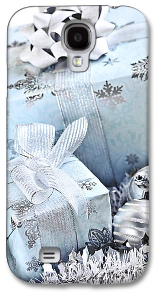 Gift Photographs Galaxy S4 Cases - Blue Christmas gift boxes Galaxy S4 Case by Elena Elisseeva
