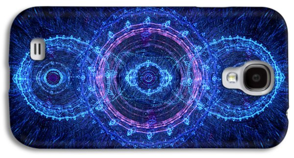 Abstract Digital Art Galaxy S4 Cases - Blue circle fractal Galaxy S4 Case by Martin Capek