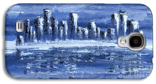 Abstract Digital Mixed Media Galaxy S4 Cases - Blue City Galaxy S4 Case by Svetlana Sewell