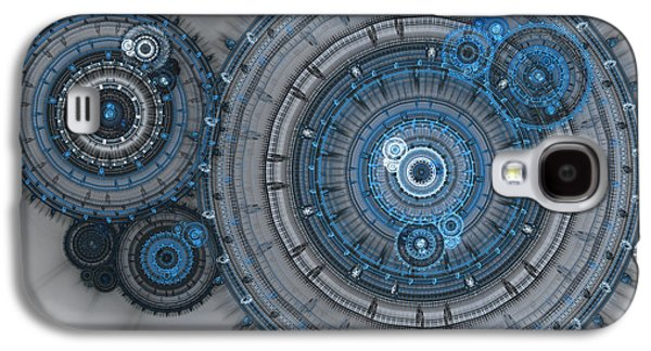 Abstract Digital Galaxy S4 Cases - Blue clockwork machine Galaxy S4 Case by Martin Capek