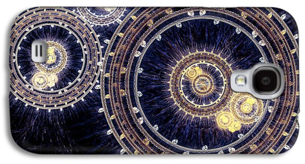 Abstract Digital Art Galaxy S4 Cases - Blue clockwork Galaxy S4 Case by Martin Capek