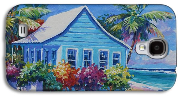 Flora Paintings Galaxy S4 Cases - Blue Cottage on the Beach Galaxy S4 Case by John Clark