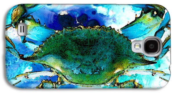 Ocean Mixed Media Galaxy S4 Cases - Blue Crab - Abstract Seafood Painting Galaxy S4 Case by Sharon Cummings