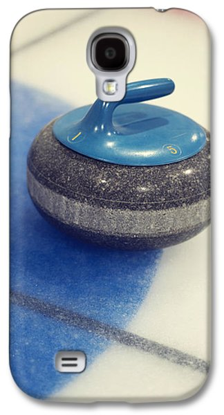 Sports Photographs Galaxy S4 Cases - Blue Curling Stone Galaxy S4 Case by Priska Wettstein